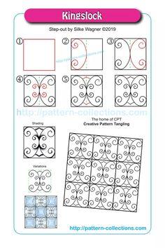 Kingslock by Silke Wagner Tangle Doodle, Zen Doodle, Doodle Art, Zentangle Drawings, Doodles Zentangles, Doodle Patterns, Zentangle Patterns, Tangled Flower, Colorful Drawings