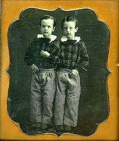 Unidentified photographer Twins in their checkered trousers n.d. Daguerreotype, 1/6 plate Be-Hold Courtesy of Larry Gottheim - Be-Hold (47 / 43) LL/11340 Their hair is parted on different sides. Antique Photos, Vintage Pictures, Vintage Photographs, Old Pictures, Vintage Images, Old Photos, Vintage Twins, Vintage Children, The Canterville Ghost