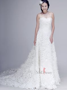 A-line Sweetheart Lace Sweep Train White Wedding Dress - would like this wit lace straps