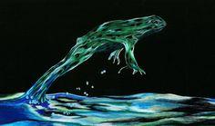 Jump Frog Jump  Pencil Crayon Surreal Art  by ShatteredVisAbility
