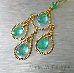 Genuine Columbian Emerald~May Birthstone~14k Yellow Gold Chandelier Necklace $1868