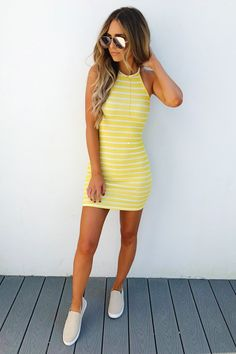 Share to save 10% on your order instantly! Steal My Sunshine Dress: Yellow/White