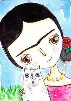 Frida Kahlo Original Painting Frida and Cat Love
