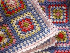 Helen's Colourful Crochet Blankets: A blue crochet blanket In Cath Kidston like colours 4th row & last should be the same colors