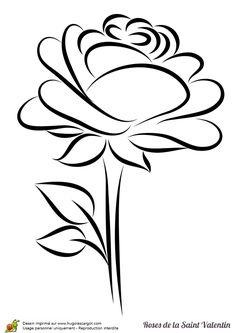 Coloriage d'un charmant bouton de rose stylisée pour la