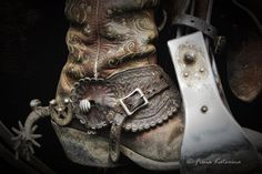Well worn cowboy boot and spur, by Fiona Katarina