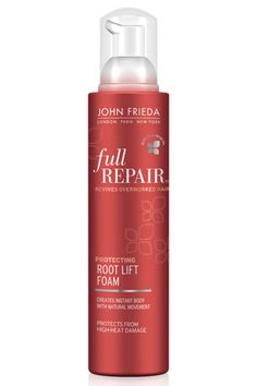 John Frieda Full Repair Protecting Root Lift Foam. This mousse doesn't just add volume—Inca Inchi oil protects hair from heat damage while you blow-dry, flatiron or curl.