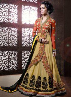 Bollywood Salwar Kameez Indian Party Wear Salwar Kameez Suits Modish Beige Shraddha Kapoor Layered Anarkali Salwar Kameez Suit