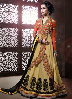 Bollywood Salwar Kameez Indian Party Wear Salwar Kameez Suits Modish Beige Shraddha Kapoor Layered Anarkali Salwar Kameez Suit
