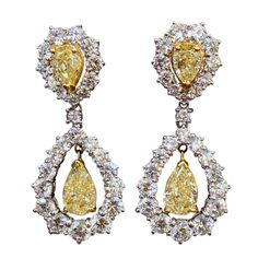 65k Yellow and White Diamond Drop Earrings | From a unique collection of vintage drop earrings at http://www.1stdibs.com/jewelry/earrings/drop-earrings/