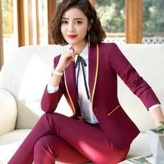 fca0243ec51 New Fashion Business interview women pants suits plus size work office ladies  long sleeve slim Formal blazer and pants set