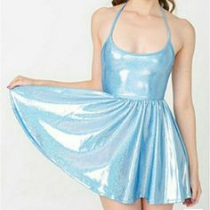 ISO american apparel hologram shiny skater dress ISO american apparel shiny figure skater dress. Holographic  Blue   Please help me find before July <3 I think size medium would be best. American Apparel Dresses Mini