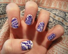 Rebecca F. is so talented! Check out the blue china pattern she did on her nails! So amazing.