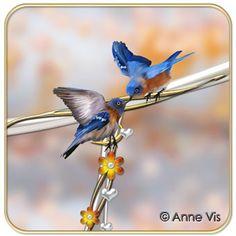 Original wedding line featuring two blue birds in love