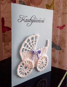 Helmisilmukka: Ristiäiskortti pienelle pojalle Diy Presents, Crochet Fashion, Diy Cards, Handicraft, New Baby Products, Diy And Crafts, Christmas Cards, Crochet Earrings, Birthdays