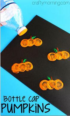 Water Bottle Cap Pumpkin Stamping Craft - Crafty Morning