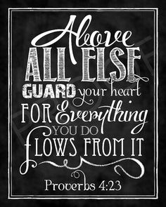 Scripture Art  Proverbs 4:23 Chalkboard by ToSuchAsTheseDesigns