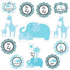 Blue Safari Baby Shower Cutouts 12ct  Hanging Decorations  Baby Shower   Shop By Occasion