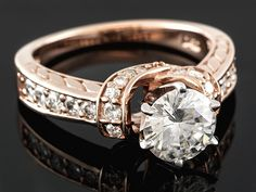 Moissanite Fire(Tm) 1.72ctw Dew Round 14k Rose Gold Over Sterling Silver Ring