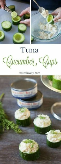 Healthy and delicious Tuna In Cucumber Cups. A cute lunch, snack or appetizer! Healthy and delicious Tuna In Cucumber Cups. A cute lunch, snack or appetizer! Paleo Recipes, Cooking Recipes, Pumpkin Recipes, Free Recipes, Cheese Recipes, Kid Cooking, Cheese Snacks, Skinny Recipes, Cucumber Cups
