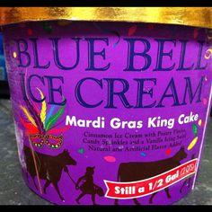 mardi gras king cake ice cream by blue bell.