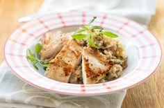 Kananpojan fileepihvit ranskalaisittain ja portobellorisottoa