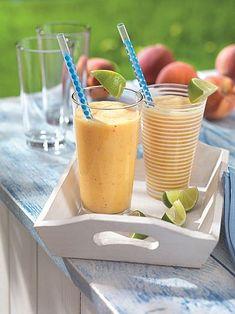 Sommer-Smoothie (Rezept, Fruchtshake, Milchshake, Pfirsich, Limetten, Joghurt)