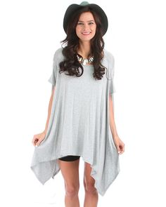 Drape All Over Tunic Top In Grey