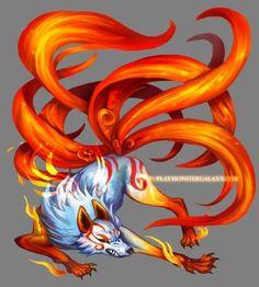 Nine tailed kitsune Mythical Creatures Art, Magical Creatures, Fantasy Creatures, Nine Tailed Fox Naruto, 9 Tailed Fox, Fox Spirit, Fox Tattoo, Anime Wolf, Cute Animal Drawings