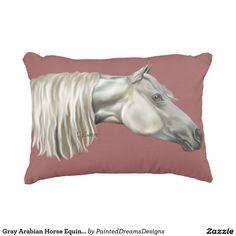 Gray Arabian Horse Equine Portrait Decorative Pillow