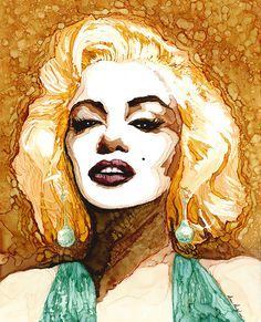 """marilyn - alcohol inks on 9"""" x 12"""" yupo - by monica moody"""