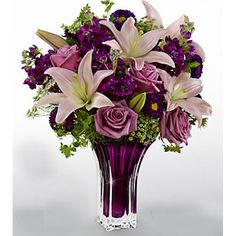 The Garden Terrace Bouquet by Vera Wang. You'll understand why the world flocks to Vera Wang for her singular interpretation of romance when you send this bouquet that gorgeously evokes the purple shadows of springtime twilight. Send to San . Send Flowers Online, Online Flower Shop, Father's Day Flowers, Spring Flowers, Cheap Flowers, Fresh Flowers, Colorful Flowers, Dark Purple Flowers, Purple Glass
