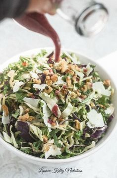 Kale and Brussels Sprout Salad with Blackberry Green Tea Vinaigrette | Lauren Kelly Nutrition
