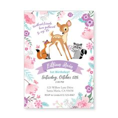 Baby Deer Birthday Party Invitation Printable by crazyfoxpaper