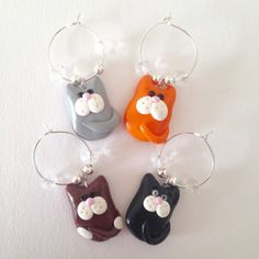 Cats Wine Glass Charms - Polymer Clay