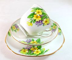 Art Deco Trio Staffordshire Duchess Primrose Primula by keepsies