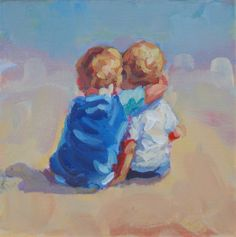 original painting of two boys 6 x 6 on gallery by LucelleRaad