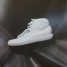ECCO Soft 7 high top sneaker boots in softest white leather.