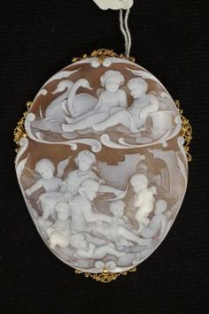 Antique Shell Cameo Victorian Cherubs Cupid 18K Signed Pendant Brooch French | eBay