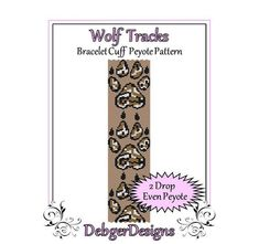 Wolf Tracks  Beaded Peyote Bracelet Cuff by FUNPATTERNDESIGNS
