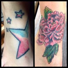 Did a lil cover up today #apprentice #apprenticetattoo #coverup #peony #peonytattoo #traditional #foottattoo