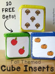 Fall Themed Cube Inserts ~ 10 FREE Sets for Back to School, Apples, Fall, Pumpkins, and Thanksgiving | This Reading Mama