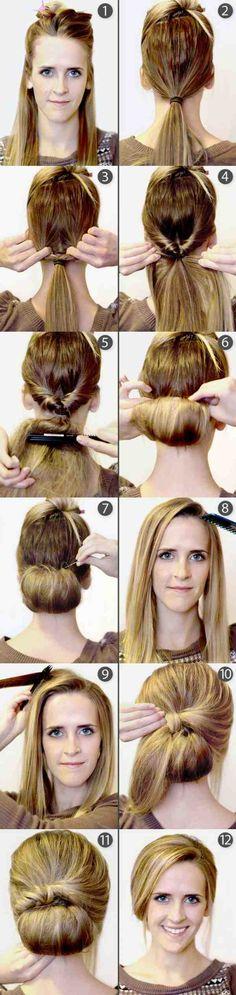 coiffure simple cheveux long chignon avec frange étape par étape