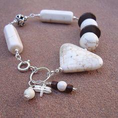 White Howlite Bracelet Asymmetric Triangle by jewelrybycarmal, $35.00