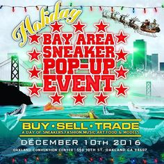 TO ALL OUR WEST COAST FAM: @sneakerpopup  DEC. 10TH - OAKLAND CONVENTION CENTER - GRAND BALLROOM - GOT SOME REALLY BIG ANNOUNCEMENTS COMING!!!! STAY TUNED!!!!!! - - GONNA BE OVER 1000 PAIRS OF SNEAKERS FOR BUY-SELL-TRADE! BE A PART OF HISTORY! 1ST EVER SNEAKER EVENT AT THE OAKLAND CONVENTION CENTER! TAKE BART FROM YOUR CITY!!!$10 PRESALE TICKETS AVAILABLE NOW! - - BAYYY AREAAAAAAAA WE DID IT!!! FINALLY THE 1ST SNEAKER EVENT EVER AT THE OAKLAND CONVENTION CENTER THIS DEC 10TH FOR OUR HOLIDAY…
