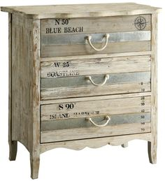 Beach cabinet / chest with words..., distressed design that reminds of windswept sea: http://www.completely-coastal.com/2016/08/coastal-cabinets-and-chests.html