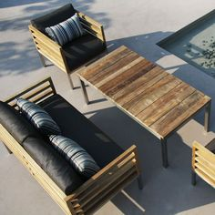 MAMAGREEN Bogard Outdoor Recycled Teak Sofa Chair and Coffee Table at Home Infatuation Blog