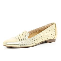 Gold metallic perforated slipper shoes - pumps / slippers - shoes / boots - women