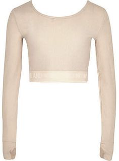 2a01f78a River Island Girls RI Active pink metallic crop top. River Island Girls, Long  Sleeve ...