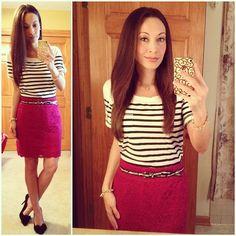 Stripes & Lace #bananarepublic today #lace pencil skirt, belt and #striped shirt, bow #pumps via #justfab #2014closetremixchallenge #ootd #springstyle #wiwt #fashion #fashionista #instalook #instagood #whatiwore #lookoftheday #instafashion #instastyle #igfashion #igstyle #mystyle #instalook #hapa #followme #stylediaries #fashiondiaries